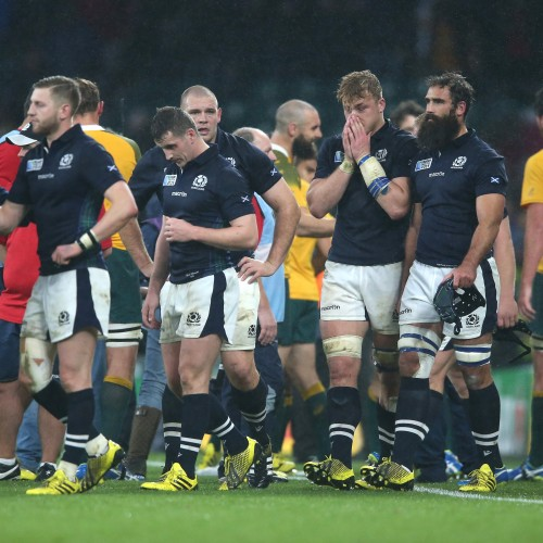 LONDON, ENGLAND - OCTOBER 18:  Scotland look dejected after their defeat during the 2015 Rugby World Cup Quarter Final match between Australia and Scotland at Twickenham Stadium on October 18, 2015 in London, United Kingdom.  (Photo by David Rogers/Getty Images)