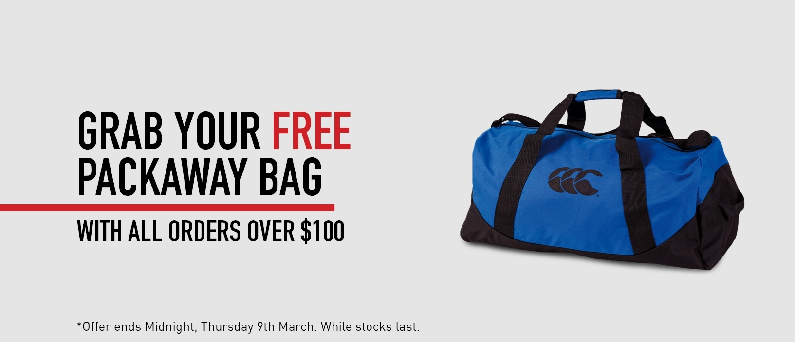 Free Packaway Bag with $100 spend
