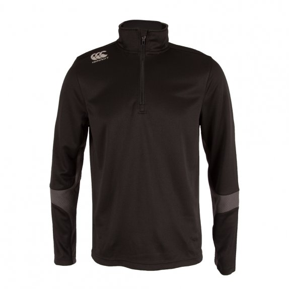 1/4 ZIP SPACER FLEECE RUN TOP JET BLACK