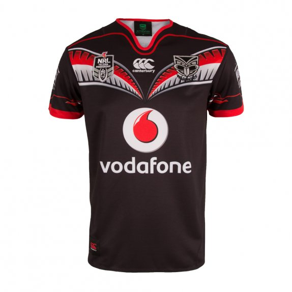 2016 VODAFONE WARRIORS REPLICA HOME JERSEY BLACK PLUS SIZE