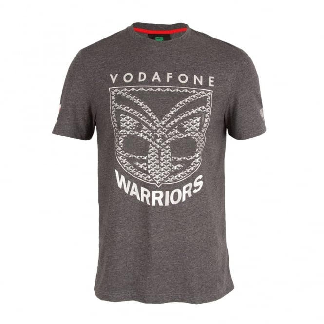 2016 VODAFONE WARRIORS SIDELINE TEE BLACKENED MARLE PLUS SIZE