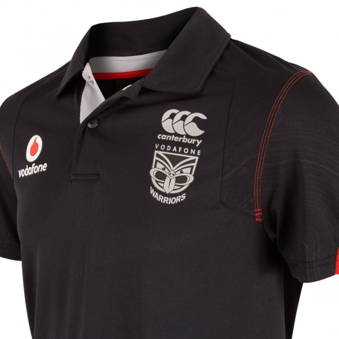 2016 VODAFONE WARRIORS TRAINING POLO BLACK PLUS SIZE
