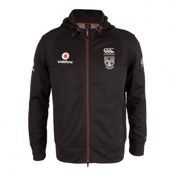 2016 VODAFONE WARRIORS ZIP THRU TRAINING HOODY BLACK - PLUS SIZE