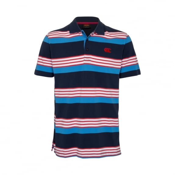 CODED YARN DYE POLO DRESS BLUE