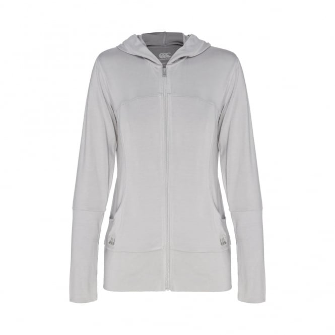 SOLO ZIP THRU HOODED TOP MID GREY MARLE